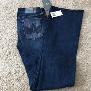NWT! 7 For All Mankind Flare Sz 28 A Pocket Jeans